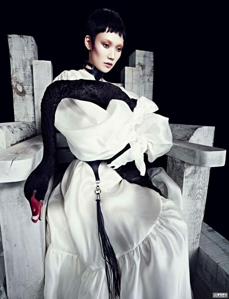 Модель Тао Окамото и черный лебедь в Numero China 2013