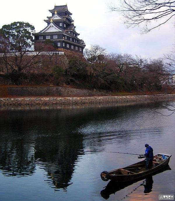 Пруд и замок Okayama-jo / Фото из Японии